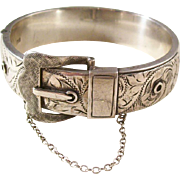 Classic Vintage Sterling Silver Buckle Bracelet - English