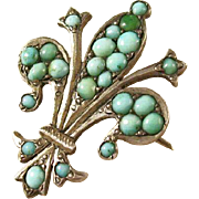 Victorian Fleur di Lis Brooch with Persian Turquoise