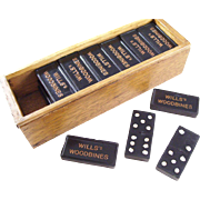 Vintage Woodbines Cigarettes Advertising Domino Set in Wooden Case - English