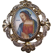 Exquisite Hand Painted Brooch, 800 Silver - Virgin Mary