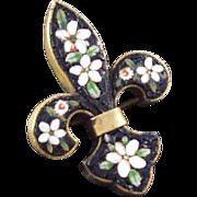 Vintage Micro mosaic Fleur de Lis Fleur di Lis Brooch