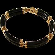 Vintage Black Jade and 14kt Gold Bracelet