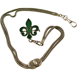 Lovely Green Enamel Fleur di Lis Watch Pin with Chain - Lady or Gent