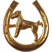 Sweet Vintage Horseshoe Brooch featuring an Airedale Dog