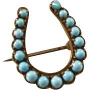 Sweet little Victorian Horse Shoe Brooch with Persian Turquoise - precious!