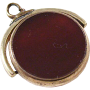 Vintage Flip Edwardian Watch Fob - Carnelian and Bloodstone