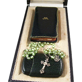 Antique Cased French First Communion Set - Leather Prayer Book and Rosary with Case 1910