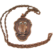 Wonderful Mid-Century Necklace - solid copper Owl