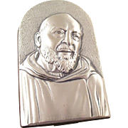 Lovely Sterling Silver Plaque featuring Padre Pio - holy monk