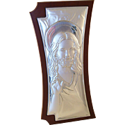 Pretty Italian Sterling Silver Plaque - Jesus Christ