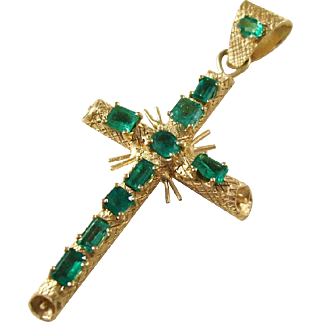 Estate Piece - 18kt Gold and Emerald Pendant Cross - a real beauty!