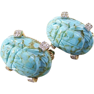 Vintage Nettie Rosenstein Clip Scarab Earrings