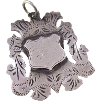 Edwardian Sterling Shield Fob Charm - English, 1904