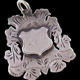 Edwardian Sterling Shield Fob Charm - English, 1904