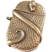 English Brass Match Safe Vesta with Serpent Motif - ca. 1890