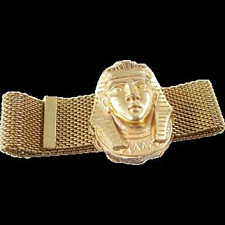 Vintage Miriam Haskell Mesh Egyptian Revival Bracelet - Pharoh Head