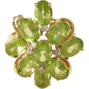 Vintage 14kt Gold Peridot and Diamond Cocktail Ring - size 10