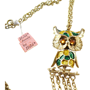 Vintage 1960's Hobe Articulated Owl Necklace - original tags!