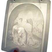Charming Antique European Lithophane - Christ in the Garden