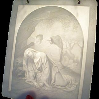 Charming Antique European Lithophane - Christ in the Garden