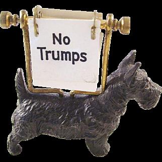 Wonderful Antique Scotty Scottie Dog Figural Trump No Trumps Marker - English