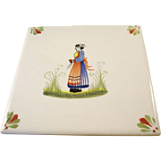 Charming Henriot Quimper Tile or Trivet