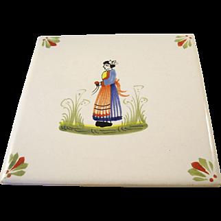 Charming Henriot Quimper Tile or Trivet