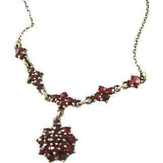 What a beauty!  Vintage deep red Bohemian Garnet Necklace - Deco style setting