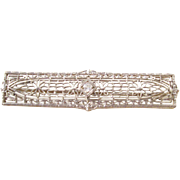 Exquisite Antique Platinum Bar Pin with Diamond - a beauty!