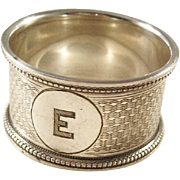 "Edwardian Sterling Silver Napkin Ring - Initial ""E"" - 1913"
