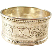 "Edwardian Sterling Silver Napkin Ring - Initial ""N"" - 1902"