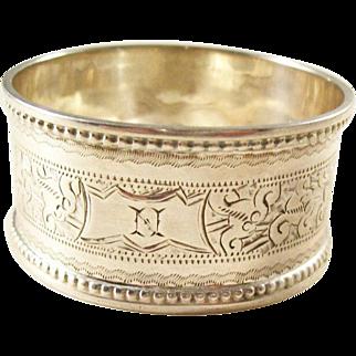 "Edwardian Sterling Silver Napkin Ring - Initial ""N"" - 1902"