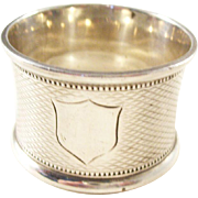 Victorian Sterling Silver Napkin Ring - Shield Design - 1897