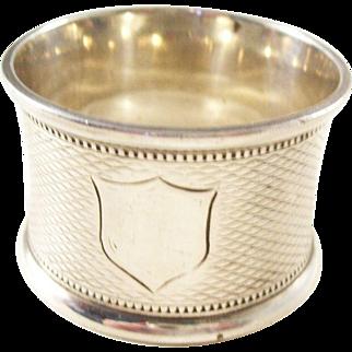 Victorian Sterling Silver Napkin Ring - Shield Design - 1897