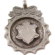 Sterling Silver Shield Watch Fob - English - 1917