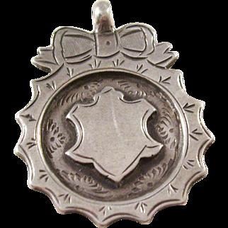 Sterling Silver Shield Watch Fob - English - 1917