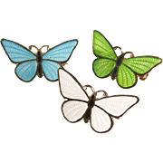 Set of three Vintage Enameled Butterfly Pins - Sweet!