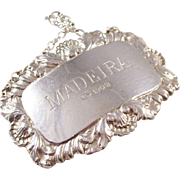 Vintage Sterling Silver Decanter Label - MADEIRA - London hallmark