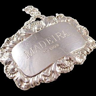 Vintage Sterling Silver Decanter Label - MADEIRA - London hallmark