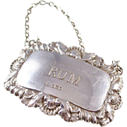 Sterling Silver Decanter Label - RUM - fully hallmarked