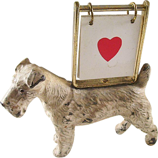 Charming Airedale Figural Trump No Trumps Indicator - Bridge or Whist
