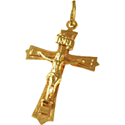 Vintage 9kt gold crucifix pendant - English