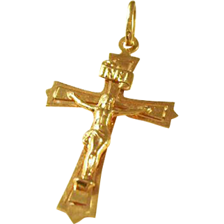 Vintage 9kt gold crucifix pendant - English