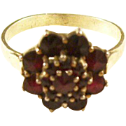 Vintage Bohemian Garnet Ring, set in Silver - Size 8.5
