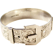 Gorgeous Vintage Sterling Silver Buckle Bracelet with Victorian Styling