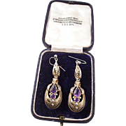 Gorgeous Pair of Antique Victorian Earrings in original box  - Drippy Amethysts