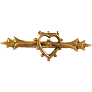 Sweet English Edwardian era Heart Brooch - 9ct gold