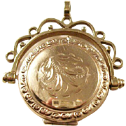 Vintage 9ct gold locket spinner fob - great for a man or a lady
