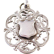 Sterling Silver Victorian Shield Watch Fob - pierced design - 1900