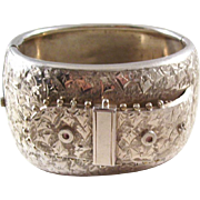 Fantastic Victorian era Sterling Silver Bangle Bracelet - Buckle Design - a stunner!
